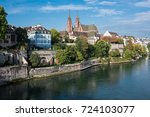 basel switzerland with the...   Shutterstock . vector #724103077