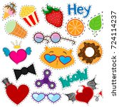 set of stickers  patches ... | Shutterstock .eps vector #724114237
