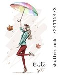 Beautiful young woman with colorful umbrella. Stylish hand drawn girl in fashion clothes. Fashion woman. Sketch. Vector illustration. | Shutterstock vector #724115473