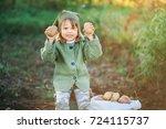 the children on the harvest of... | Shutterstock . vector #724115737