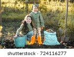 the children on the harvest of... | Shutterstock . vector #724116277