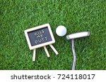 kiss my putt with golf ball and ...   Shutterstock . vector #724118017