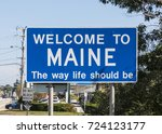 state sign maine at the highway ... | Shutterstock . vector #724123177