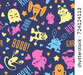 seamless pattern with cute... | Shutterstock .eps vector #724124113
