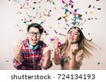 joyful party concept   asian... | Shutterstock . vector #724134193
