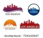 los angeles city skyline... | Shutterstock .eps vector #724143547