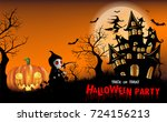 happy halloween background with ... | Shutterstock .eps vector #724156213
