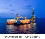 aerial view of tender drilling... | Shutterstock . vector #724165843