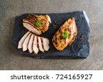 grilled chicken fillets on... | Shutterstock . vector #724165927