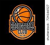 basketball badge logo yellow... | Shutterstock .eps vector #724166527