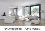 modern bright interiors. 3d...   Shutterstock . vector #724170583