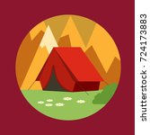 tent. holidays in the mountains ... | Shutterstock .eps vector #724173883