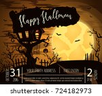 happy halloween party poster... | Shutterstock .eps vector #724182973
