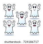 five halloween ghosts | Shutterstock .eps vector #724186717