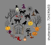 halloween. background with ... | Shutterstock .eps vector #724190653