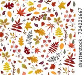 Seamless Autumn pattern Vector floral watercolor style design: orange, yellow, brown red fall forest rowan, birch, oak tree leaves and herbs. Wallpaper, background beautiful, cute, trendy bright print
