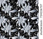 paisley seamless pattern. black ... | Shutterstock .eps vector #724226737
