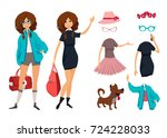 character of hipster young girl ... | Shutterstock .eps vector #724228033