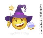 witch smiley. yellow emoticon... | Shutterstock .eps vector #724230793