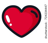 big red heart with a black... | Shutterstock . vector #724234447
