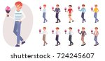 cartoon character design male... | Shutterstock .eps vector #724245607