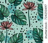 seamless pattern with lotus...   Shutterstock .eps vector #724253497