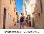 italian summer holidays  woman... | Shutterstock . vector #724260913