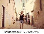 italian summer holidays  woman... | Shutterstock . vector #724260943