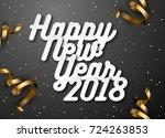 happy new year 2018 text design.... | Shutterstock .eps vector #724263853