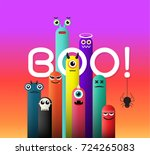 monster cute and boo for... | Shutterstock .eps vector #724265083
