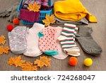socks made of knitwear. socks... | Shutterstock . vector #724268047