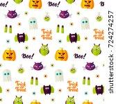 boo halloween seamless pattern. ... | Shutterstock .eps vector #724274257