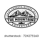 badge mountains logo template | Shutterstock .eps vector #724275163