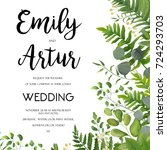 wedding invitation  floral... | Shutterstock .eps vector #724293703