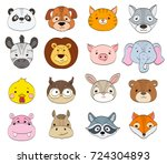 set of cartoon animal faces on... | Shutterstock . vector #724304893