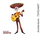 dia de muertos. mariachi... | Shutterstock .eps vector #724314607