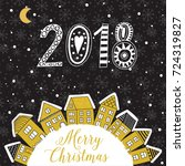 vector christmas greeting card... | Shutterstock .eps vector #724319827
