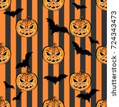 seamless pattern with orange... | Shutterstock . vector #724343473