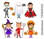 set of cute cartoon children in ... | Shutterstock . vector #724345153