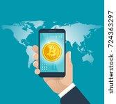 bitcoin global business concept.... | Shutterstock .eps vector #724363297