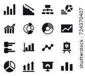 16 vector icon set   graph ... | Shutterstock .eps vector #724370407