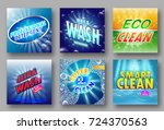 set of 6 high quality laundry... | Shutterstock .eps vector #724370563