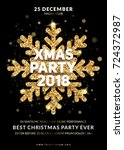 christmas party poster design.... | Shutterstock .eps vector #724372987