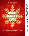 christmas party poster design.... | Shutterstock .eps vector #724379503