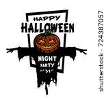 happy halloween. pumpkin head... | Shutterstock .eps vector #724387057
