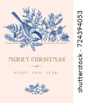 christmas card with a bird and... | Shutterstock .eps vector #724394053
