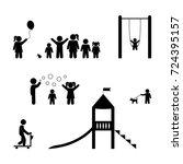 children playing  playground ...   Shutterstock .eps vector #724395157
