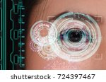 woman being futuristic vision... | Shutterstock . vector #724397467