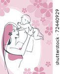 mother and child girl. postcard ... | Shutterstock .eps vector #72440929