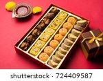 diwali diya  sweets or mithai... | Shutterstock . vector #724409587